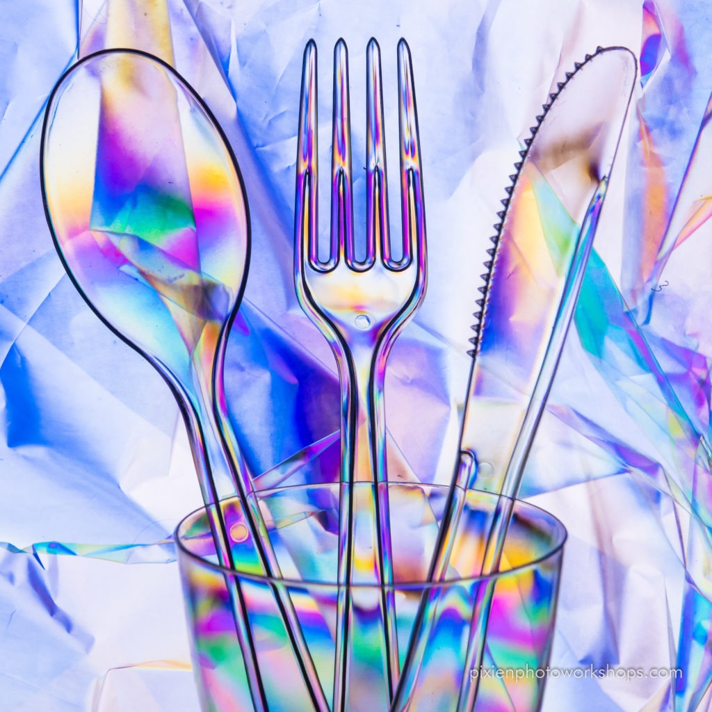 polarized filter and creative photos with plastic spoons, forks and knifes