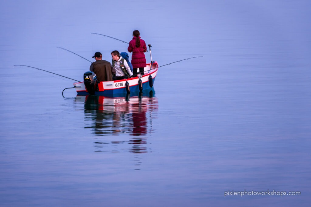 boat fishing - evening at the lake photo session
